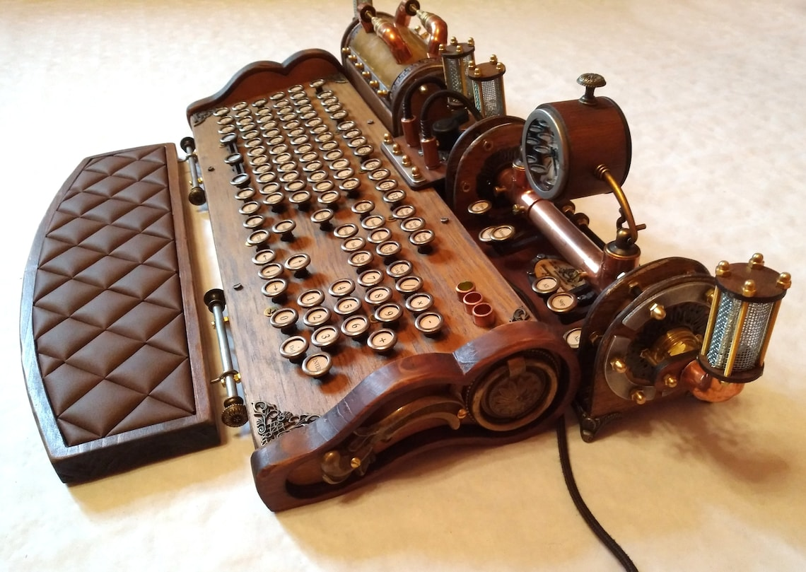 Set of steampunk vintage look with aged effects keyboard image 2