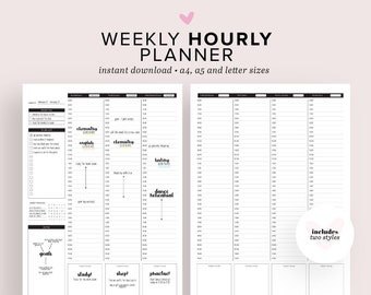 Weekly Hourly Planner Printable, Weekly Schedule Printable, Daily Planner Printable, Weekly Organizer, Weekly To-Do List - A4, A5 & Letter