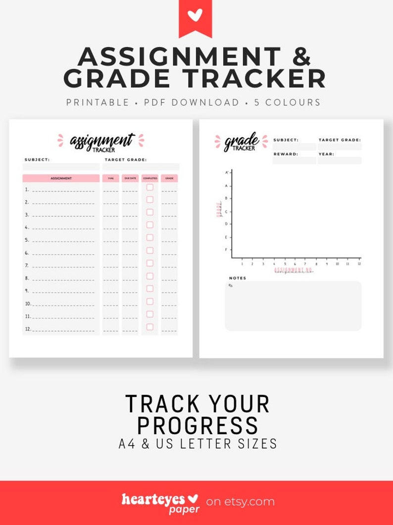 photo about Grade Tracker Printable named Assignment and Quality Tracker, Printable Quality Tracker, Printable Planner, Assignment Planner, Pupil Planner - A4 Letter Dimensions