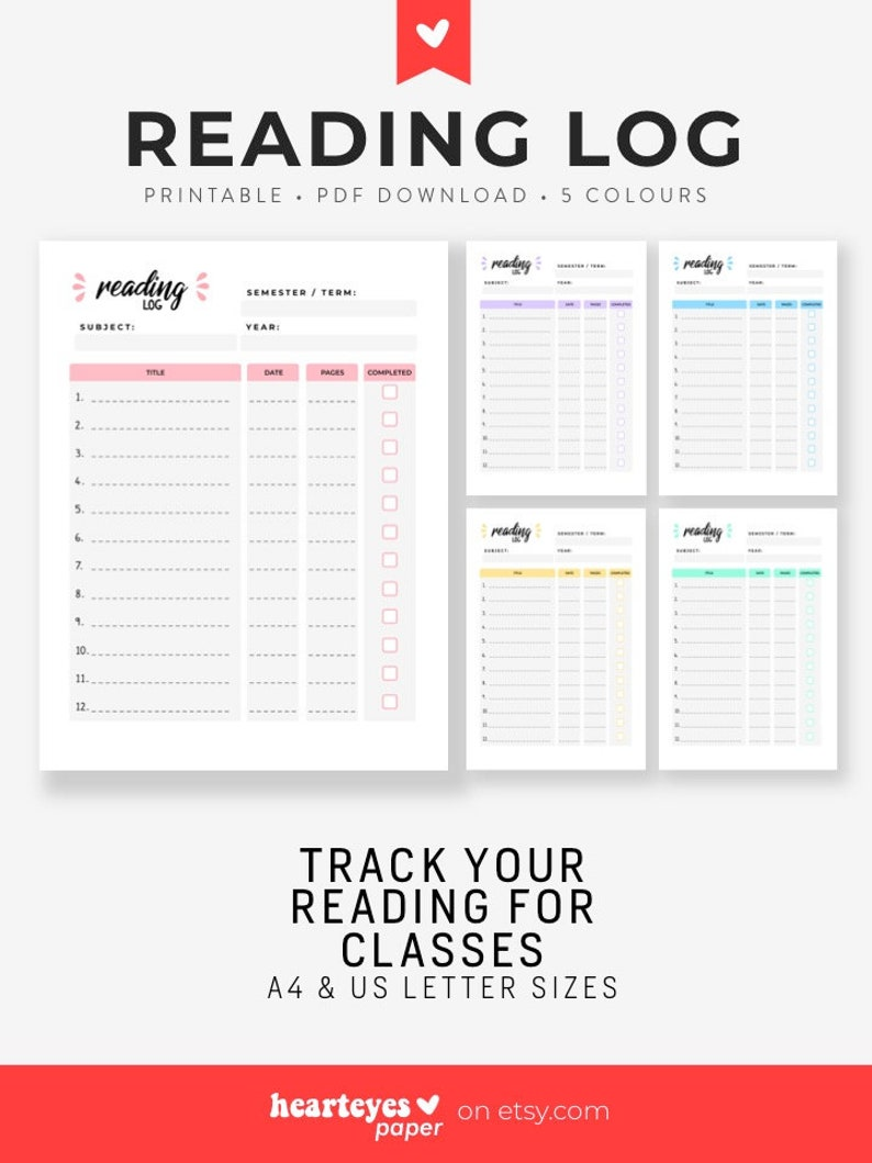 image relating to Reading Log Printable called Examining Log, Printable Planner, Examining Listing, Reading through Magazine, Guide Log, Guide Tracker, College or university Examining, Scholar Planner - A4 and Letter Measurements