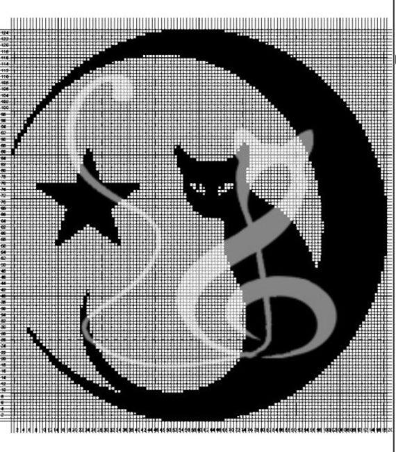 Gehaakte gordijnen sjabloon \'Kat in de maan\'   Etsy