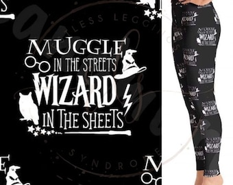 f10b4facd2 Muggle in the Streets Wizard in the Sheets Custom Leggings (Yoga Waistband)  Adult OS, Curvy & Extra Curvy