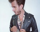 Mens leather jacket black skinny leather biker jacket
