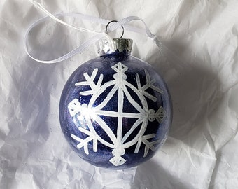 Royal Blue PLASTIC Hand-Painted Glitter Snowflake Holiday Ornament