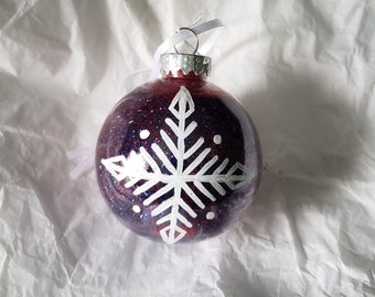 Royal Blue/Red PLASTIC Hand-Painted Glitter Snowflake Holiday Ornament