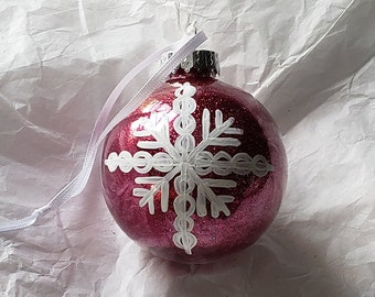 Hot Pink PLASTIC Hand-Painted Glitter Snowflake Holiday Ornament