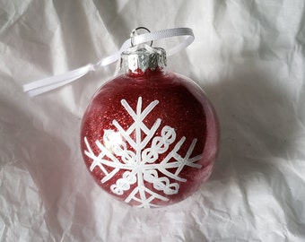 Red PLASTIC Hand-Painted Glitter Snowflake Holiday Ornament