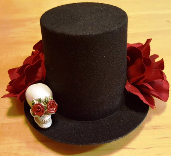 MINI SKULL TOP HAT ORANGE AND BLACK RIBBON HALLOWEEN FANCY DRESS ACCESSORY