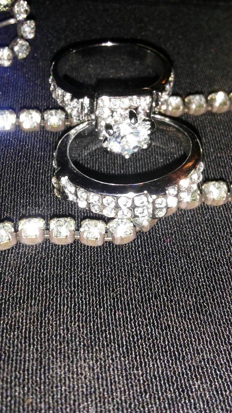 Cubic Zirconia Gorgeous Silvertone CZ Size 8 Wedding Band Set