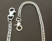 Trouser chain, key, Stainless steel purse chain with two sturdy carabiners manufactured in Germany.