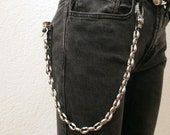 Robust trouser necklace with wolf head carabiner purse chain key chain bike chain made of stainless steel old-school manufactured in Germany New