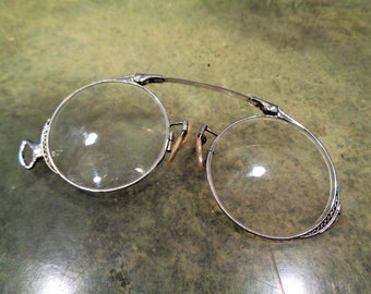 fdeddfa2c061 Vintage Beautiful Ultra Rare Oxford Pince Nez with 14K Solid White Gold  Spring Steam Punk Style in Great Condition!!!