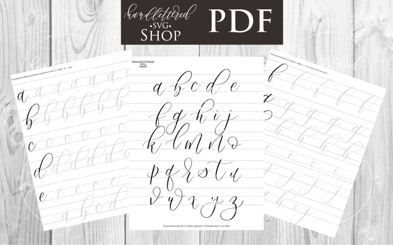 Bouncy Exaggerated Brush Lettering Alphabet Practice Worksheets   Hand  Lettering Practice Sheets   Lettering Practice Pages   iPad Lettering