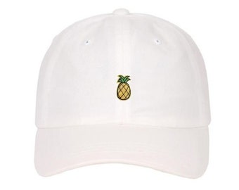0aac2bddc25 Embroidery Pineapple Emoji Fruit Logo on Low Profile Strap back Dad Hat