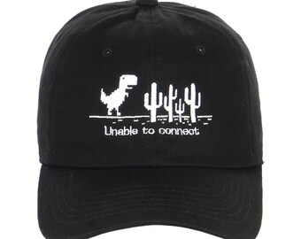 3cc90d94e1902 Exclusive Embroidery Pixelated dinosaur T-Rex run chrome Game movie  Animation Characters Dad Hat Men Women Embroidered Cap