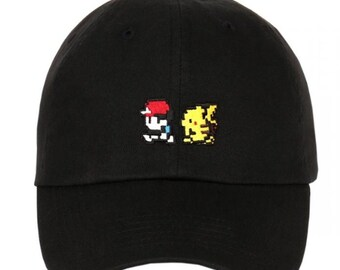 2abf05c751879 Exclusive Embroidery Pixelated Pokemon Go Pikachu Ash Game Animation  Characters Dad Hat