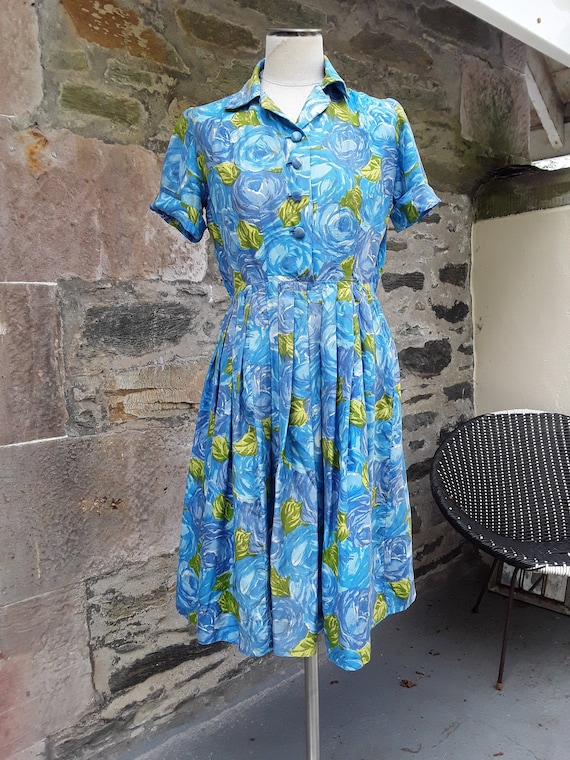Gorgeous Handmade 1950s  Silk Dress, with Abstract