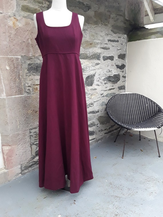 "True 1960s ""QUAD"" Wool Maxi Pinafore Dress in Burg"