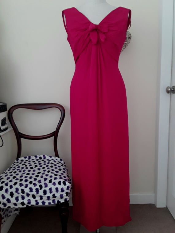 1950s  Carnigie Crepe Maxi Dress in Cerise Pink. E