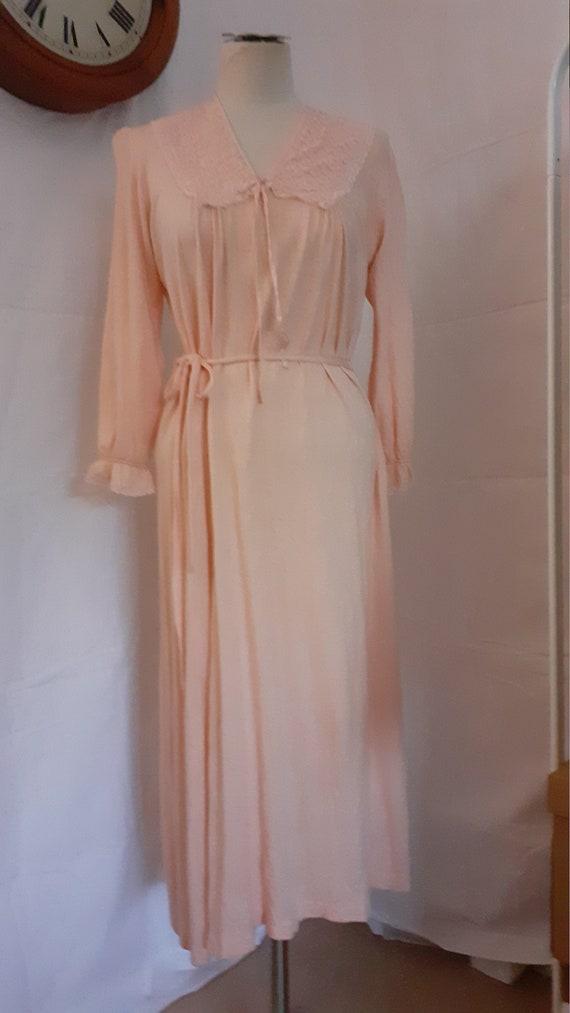1940s Jersey Knit Nightdress. Pink wool/rayon mix.
