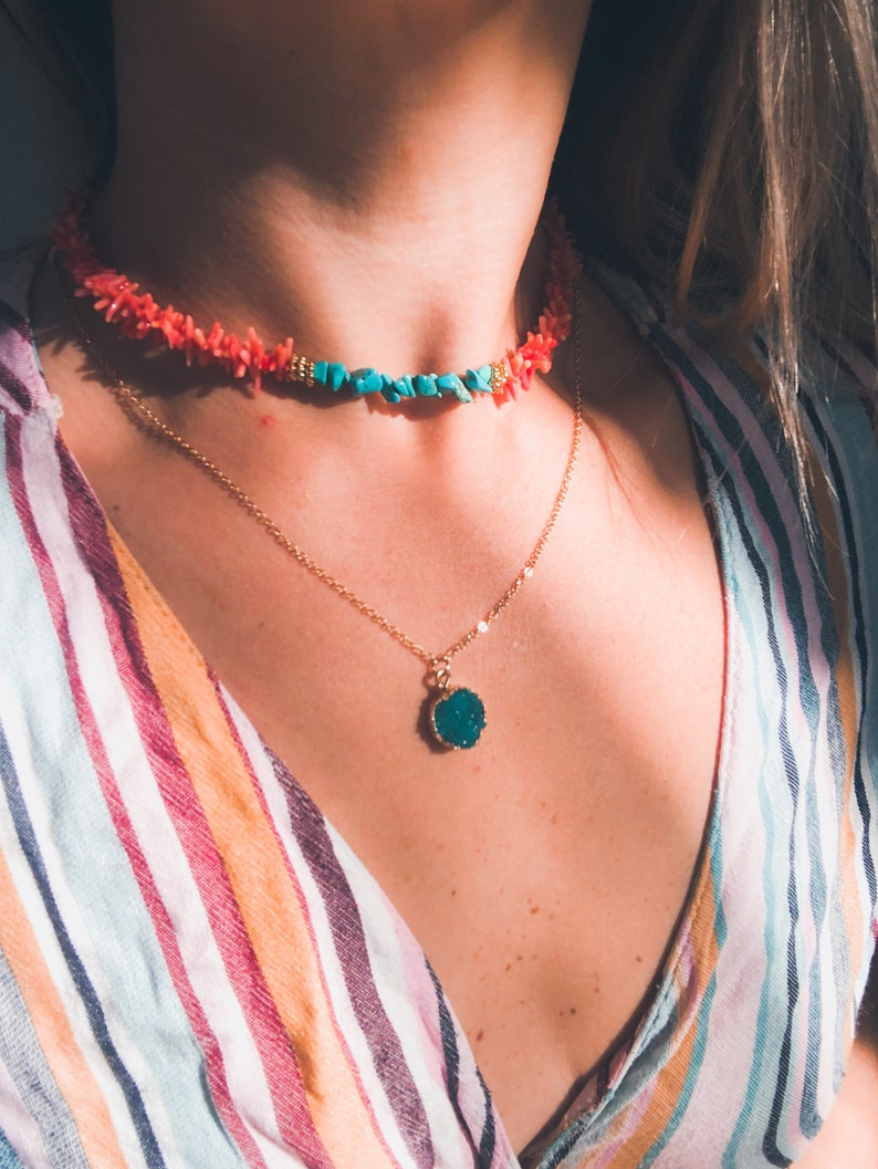 Coral choker turquoise necklace coral necklace raw coral choker raw turquoise jewelry turquoise chip necklace bohemian necklace bohochic