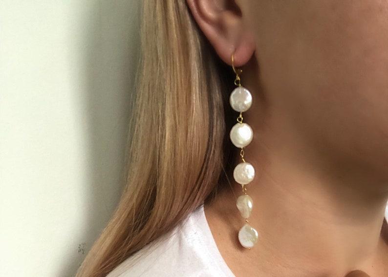 Baroque pearl coin shaped pearl earrings pearl drop earrings flat round pearls baroque pearl jewelry classy pearl drop earrings