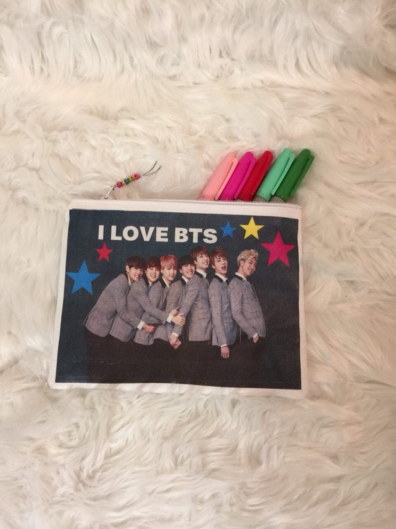 Gray I LOVE BTS Pencil Pouch!