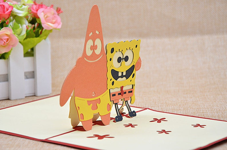 Kids/' Birthday Cards 3D Kids/' Birthday Card--SpongeBob Birthday Greeting Card Patrick Star Pop Up Card Pop Out Card