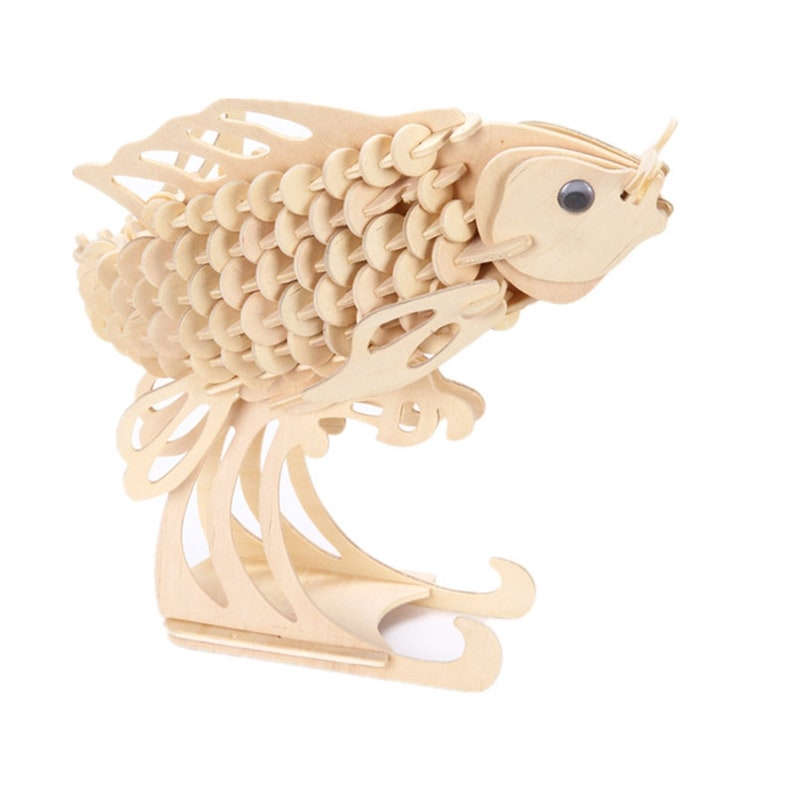 3d Wooden Puzzle Carp Wooden Koi Fish Puzzle Kids Diy Toy Kids Learning Toy Ready To Paint Toy Tabletop Wooden Koi Fish