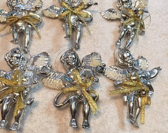 6 antique christmas ornaments angeles with musical instruments