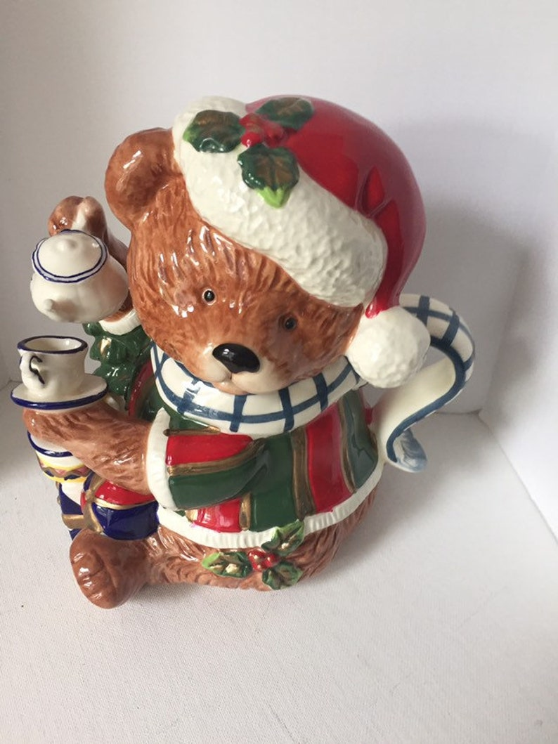 Cracker Barrel Christmas.Vintage Cracker Barrel Christmas Santa Teddy Bear Teapot In Original Box