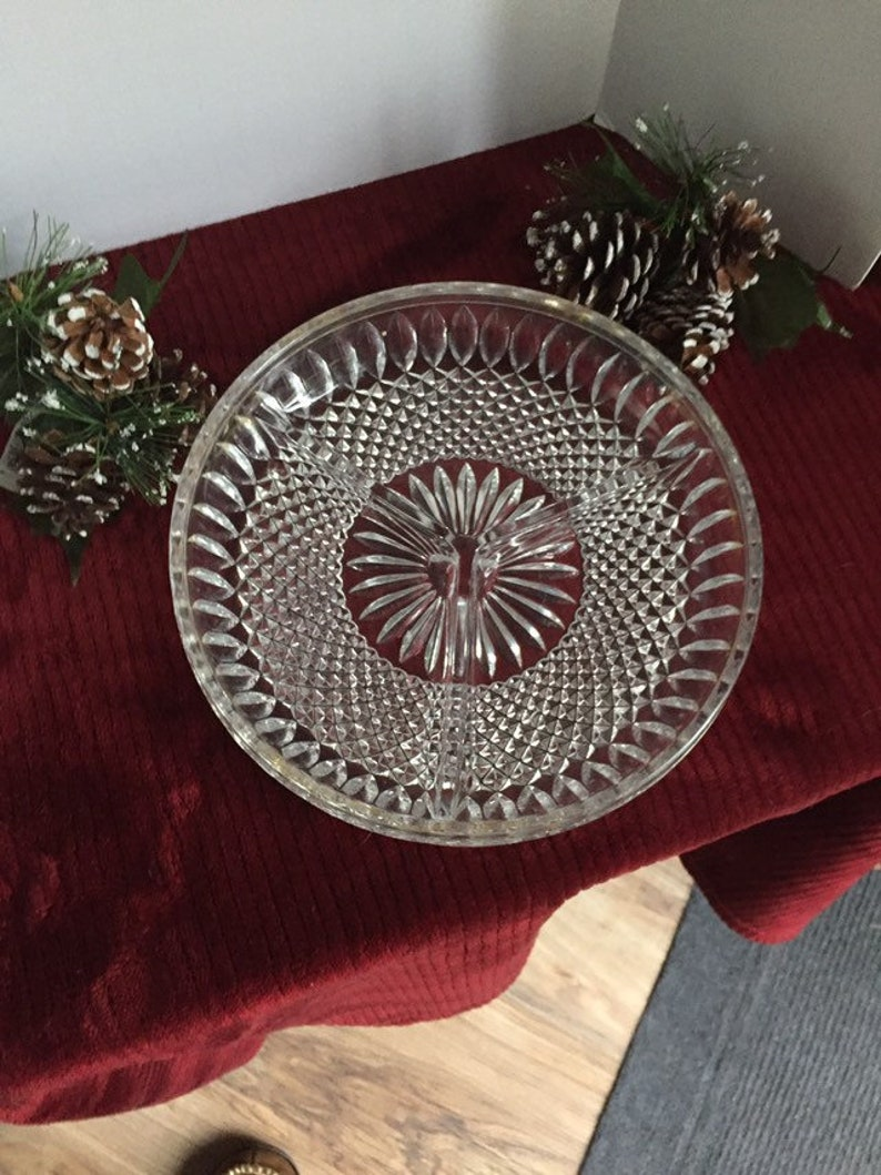Vintage 9 inch round cut glass relish plate