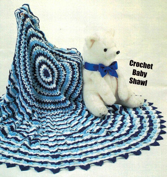 "Baby Circular Crochet Shawl 56/"" Diameter 3 Ply Crochet Pattern"