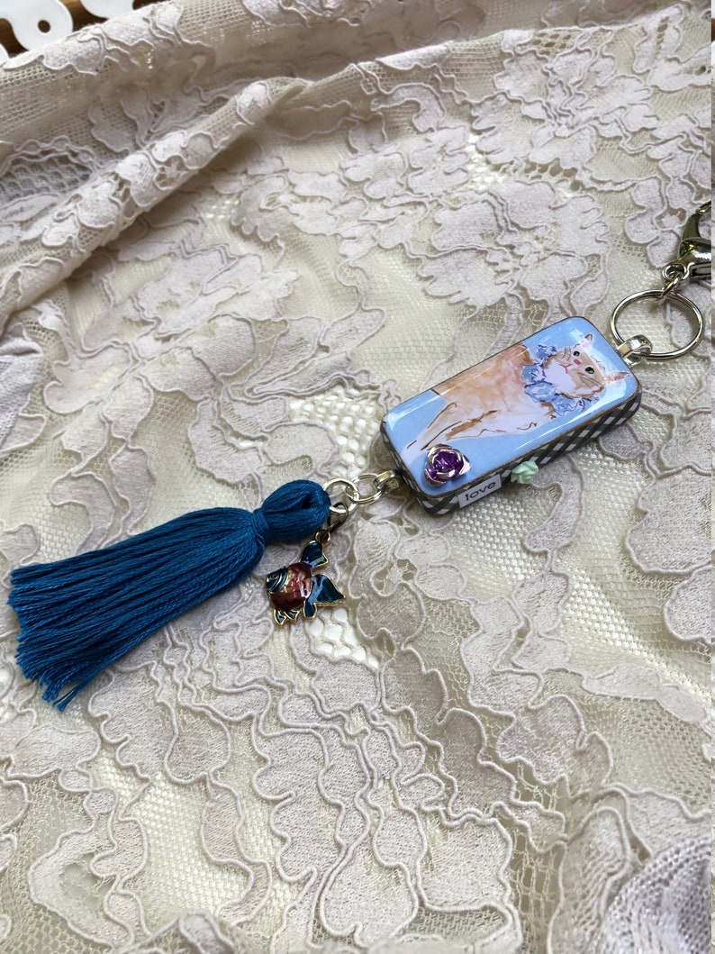 Cat Lover/'s Altered Domino Purse Charm II