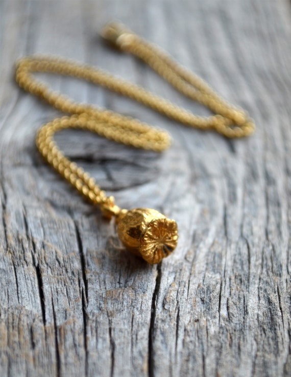 Poppy Seed Gold Necklace Poppy Seed Pod Gold Plated Pendant Etsy