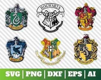 6 Harry Potter Svg, Hogwarts Crest Svg, Slytherin, Gryffindor, Ravenclaw,  Hufflepuff, Download   Cut File, Clipart   Cricut Explorer