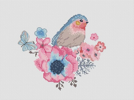 Bird Cross Stitch Pattern PDF Instant Download Chaffinch Cross Stitch Cute Cross Stitch Bright Cross Stitch Pumpkin Cross Stitch Apple Chart