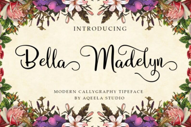 Bella madelyn Fonts Digital font Swirly Font Script Font Digital download  swash font Handwritten font calligraphy font wedding font Cricut