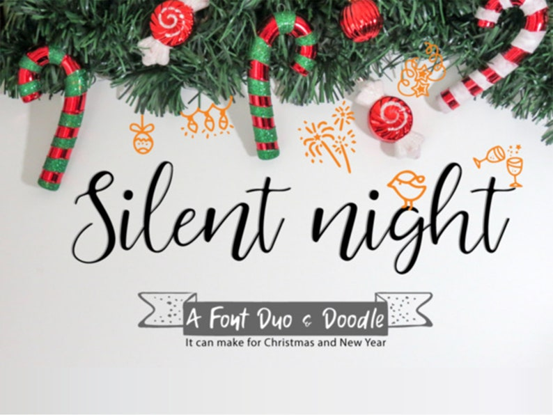 Silent night christmas script font, Digital font, Calligraphy font,  Handwritten font, Wedding font, Modern font,Instant download  B028