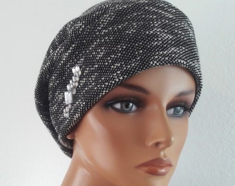 LUXUS Women s Balloon Hat Hat Grey Weis Jersey Chemo Alopecia b255ef70cada