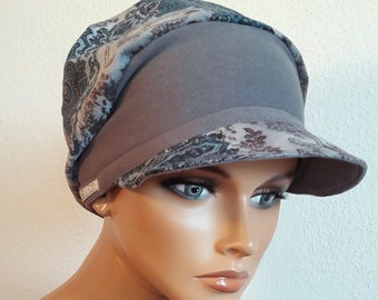 LUXUS Women s Patron Hat Balloon Hat Brown Grey Cotton Cord Chemo Alopecia 4d7cdca054a6