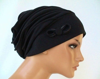LUXUS balloon cap beanie cap cap black 100% cotton Jersey Chemo alopezia 0f7a0366798c