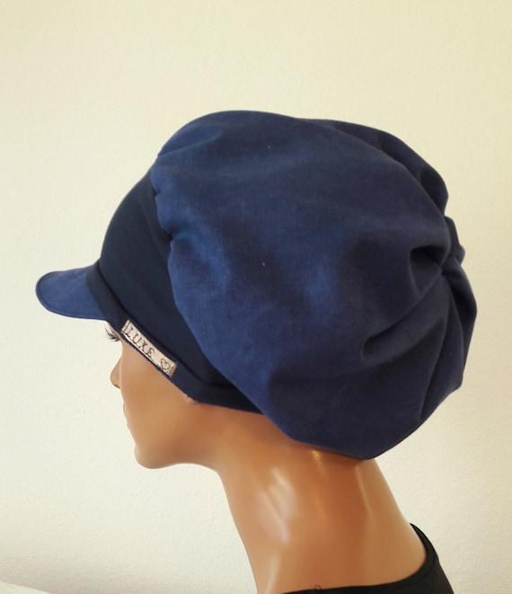 LUXUS Women s Patron Hat Hat Navy Blue Cotton Jans Chemo  33153cac9571