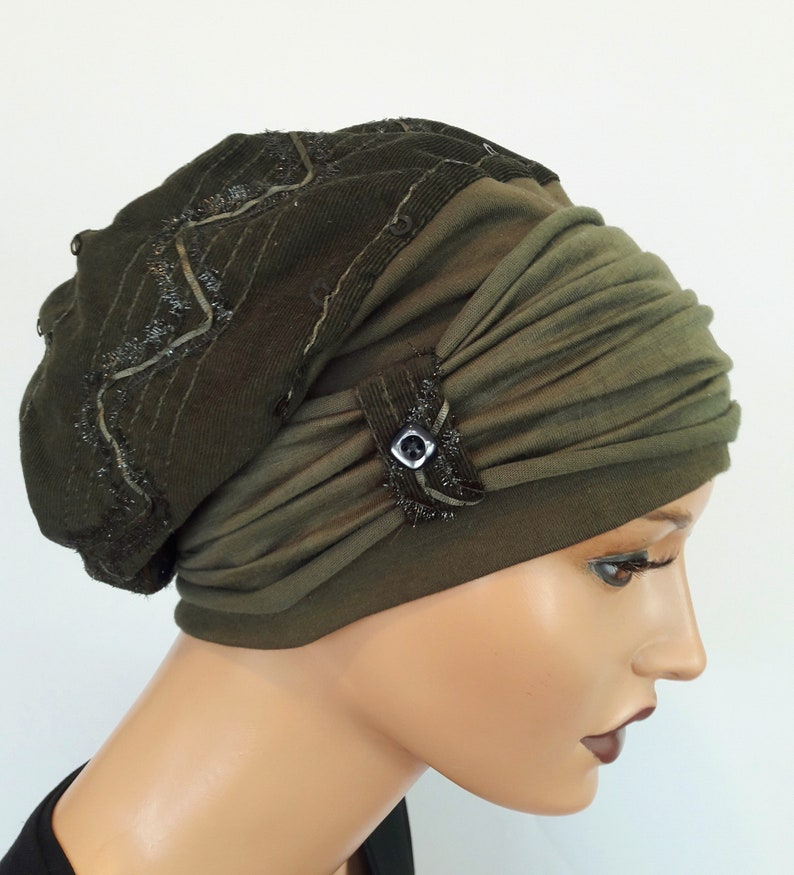 LUXURY Ladies Balloon Hat Winter Hat Dark Olive Kord with Pallets Embroidery CuffS Chemo Alopecia Instead of Wig