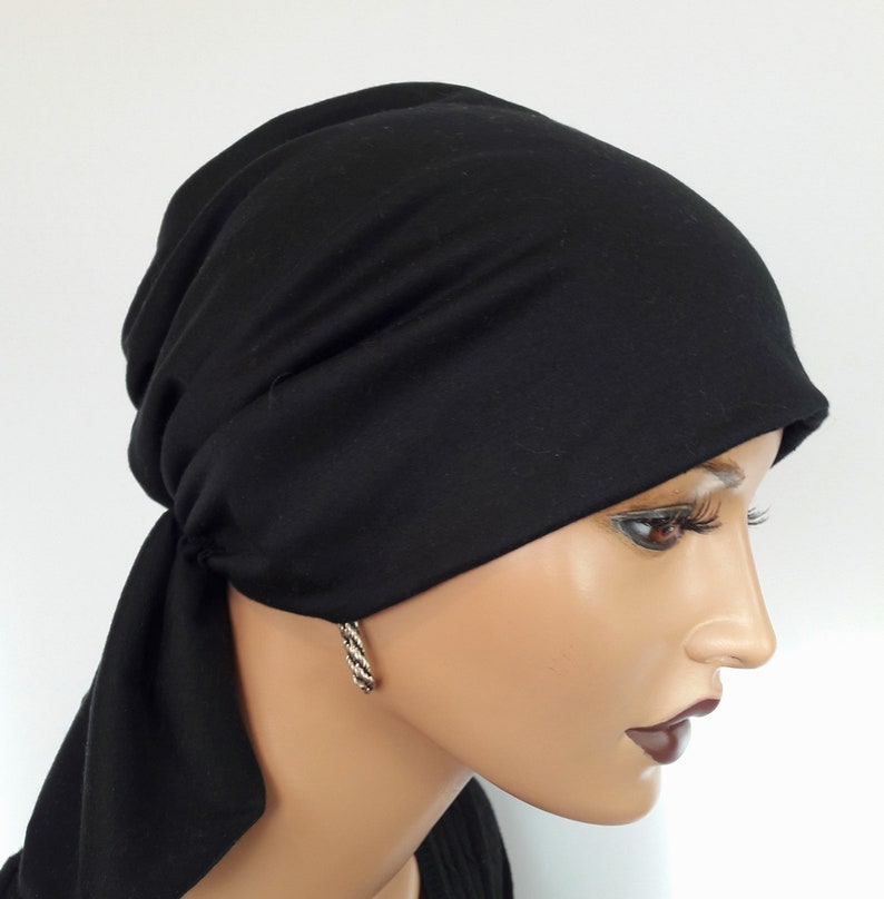 High wearing comfort Chemo Alopecia LUXURY Women/'s HeadScarf Hat Bandana Headband Black White 2 Partial