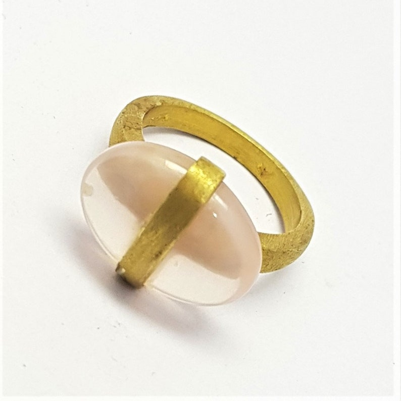 Rose Quartz Gemstone Fine jewelry 92.5 Sterling Silver gold Plated Handmade Traditional excellent ring