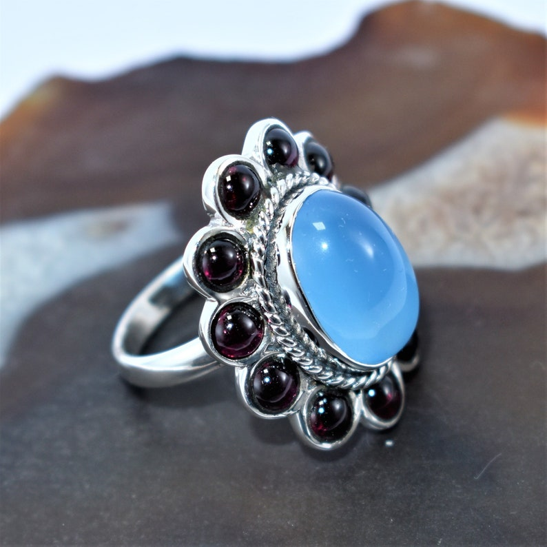 Natural Blue Chalcedony Engagement Ring,92.5 Sterling Silver Jewelry Ring,Propose Gift Jewelry,Woman Fashion Jewelry,Silver Garnet ring