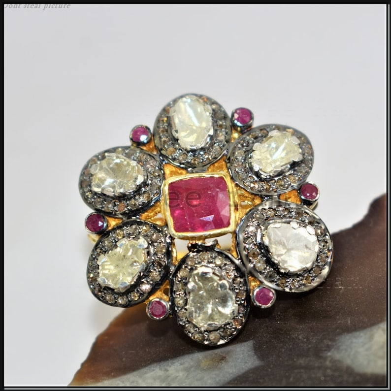 925 Silver Handmade Victorian Jewelry Gift For Her Polki /& Pave Diamond Ring Fine Ring Ruby Gemstone Ring