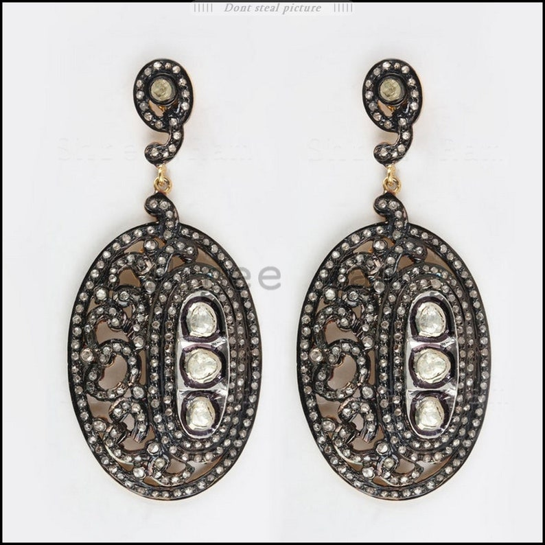 Handmade antique earring Easter Gift Birthday Gift earring Fine Silver Earring Woman Gift Earring 925 Sterling Silver Diamond Jewelry