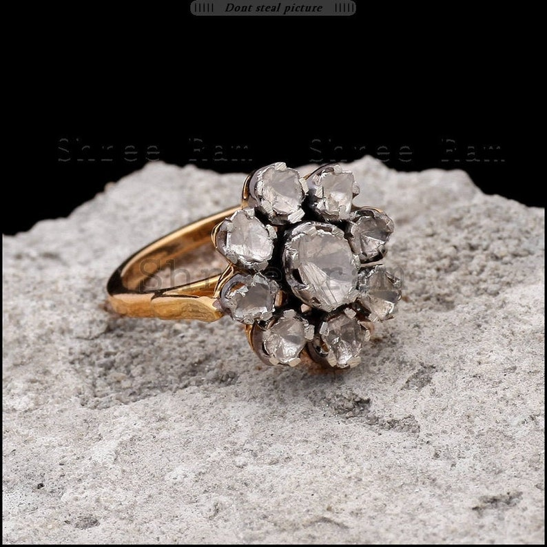 Gorgeous Flower Style Handmade Ring Polki Diamond 925 Sterling Silver Victorian Jewelry Best For New Year Gift